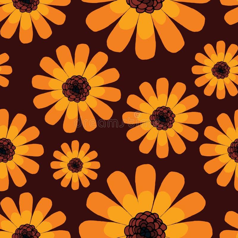 Modèle orange de calendula d'été sans couture illustration de vecteur