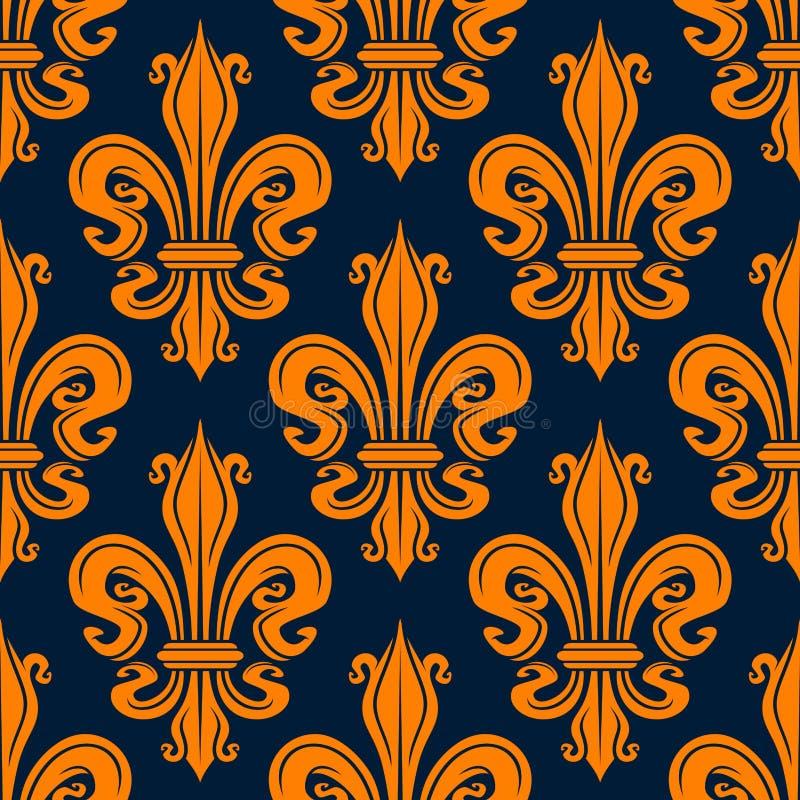 Modèle orange sans couture de fleur de lis de vintage illustration libre de droits