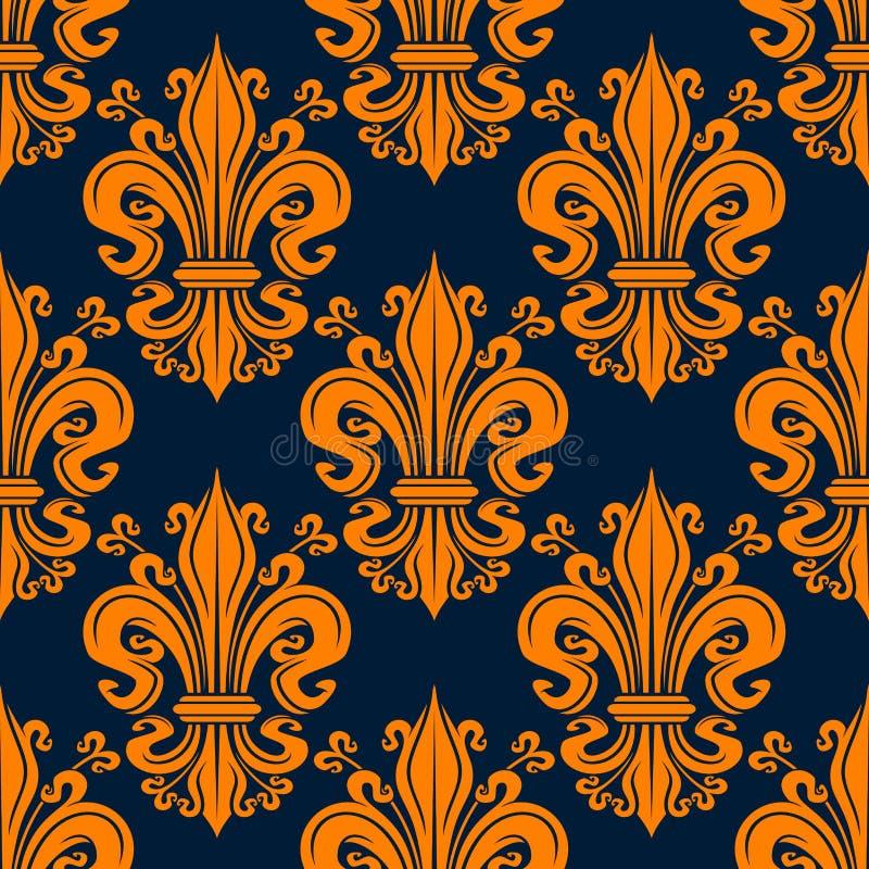 Modèle orange sans couture de fond de fleur de lis illustration stock