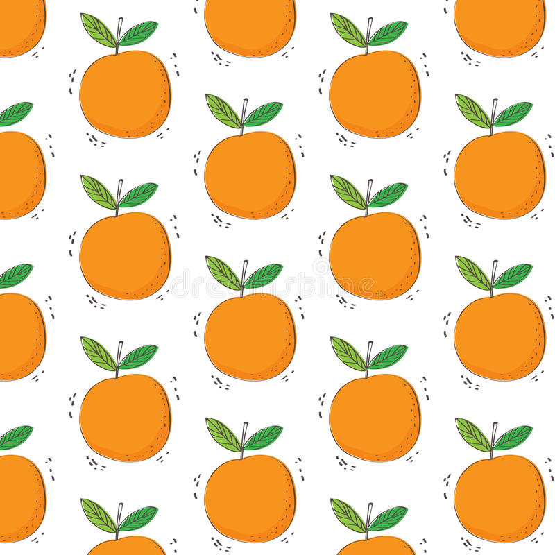 Modèle orange tiré par la main de fruit Configuration sans joint Texture d'impression Conception de tissu illustration de vecteur