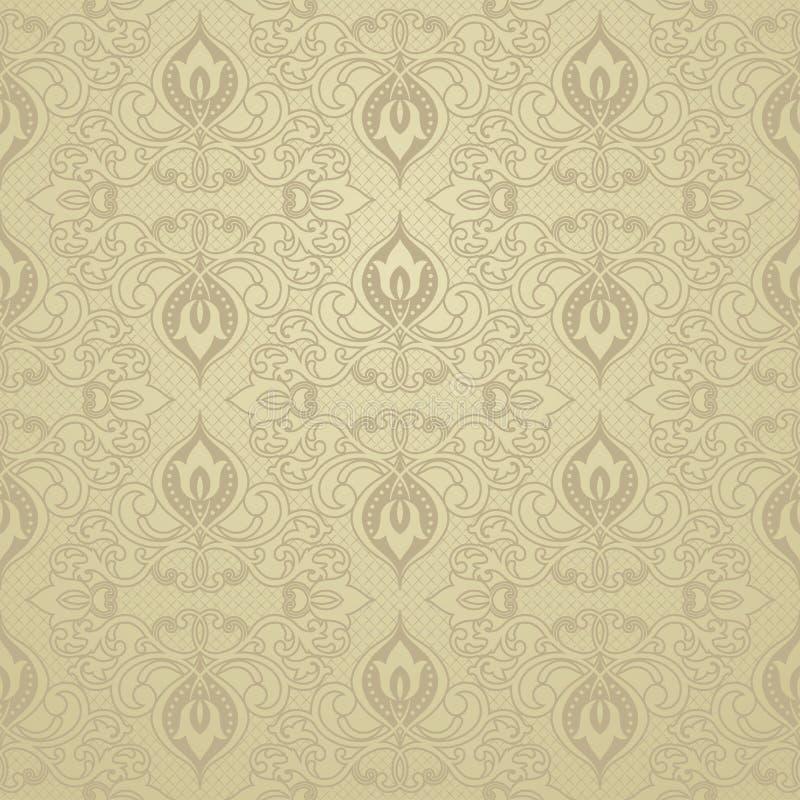 Modèle oriental avec la damassé, l'arabesque et les éléments floraux illustration stock