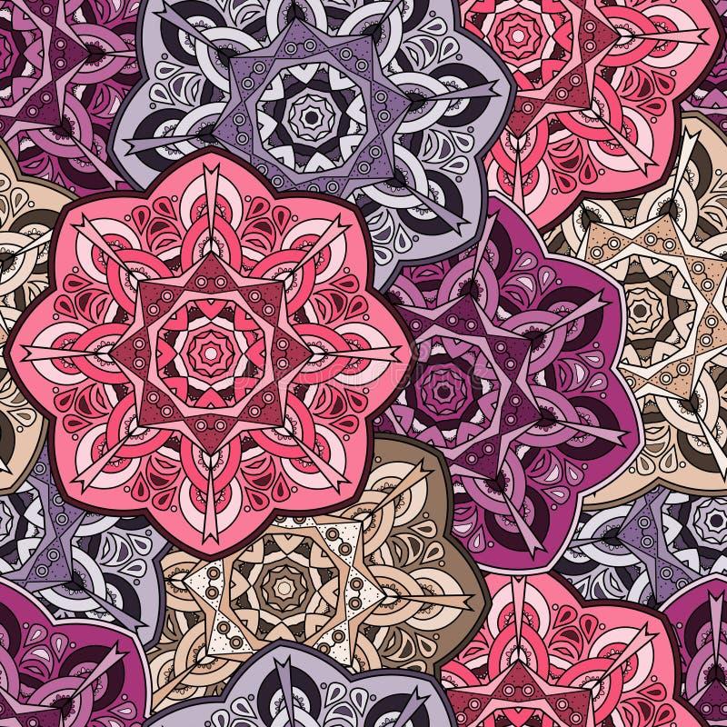 Modèle oriental sans couture coloré de mandala de vintage illustration de vecteur
