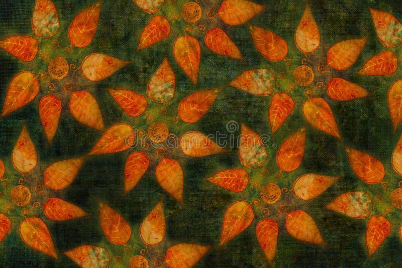Modèle ornemental coloré de fond avec le collage de feuilles d'automne image stock