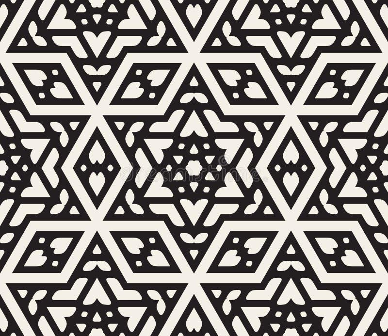 Modèle ornemental islamique d'étoile hexagonale noire et blanche sans couture de vecteur illustration libre de droits