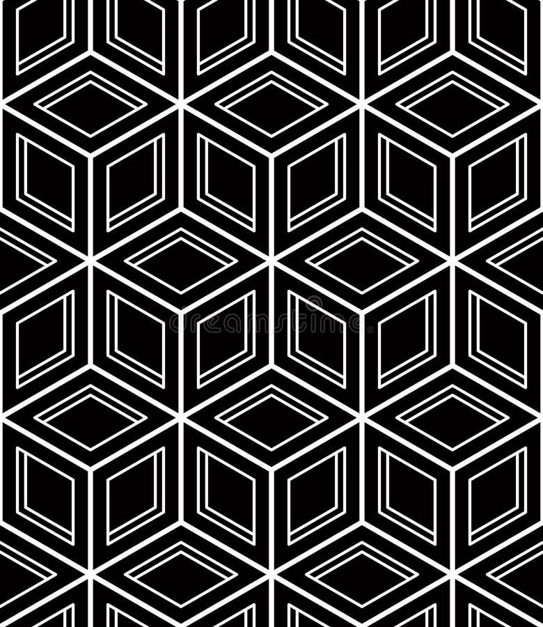 Modèle ornemental optique sans couture avec le geome tridimensionnel illustration de vecteur