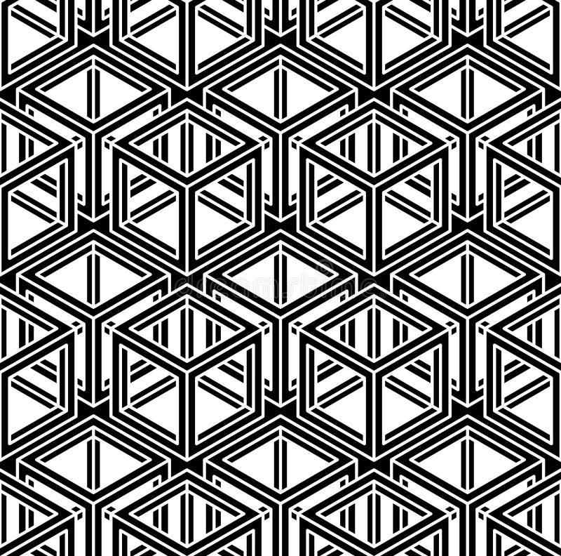 Modèle ornemental optique sans couture avec le geome tridimensionnel illustration libre de droits