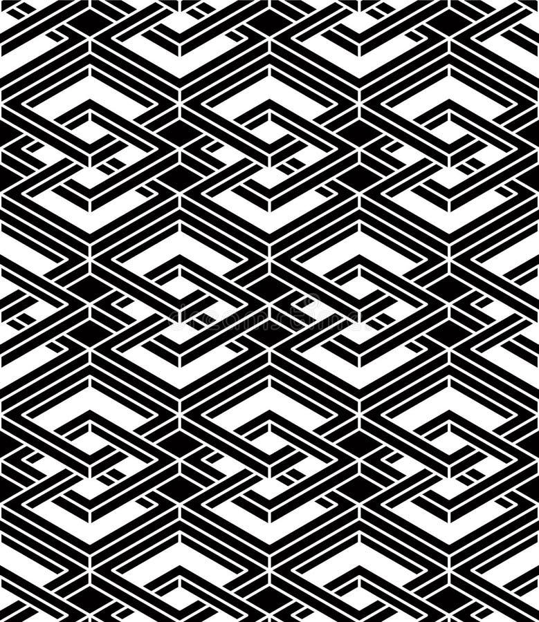 Modèle ornemental optique sans couture avec le geome tridimensionnel illustration stock