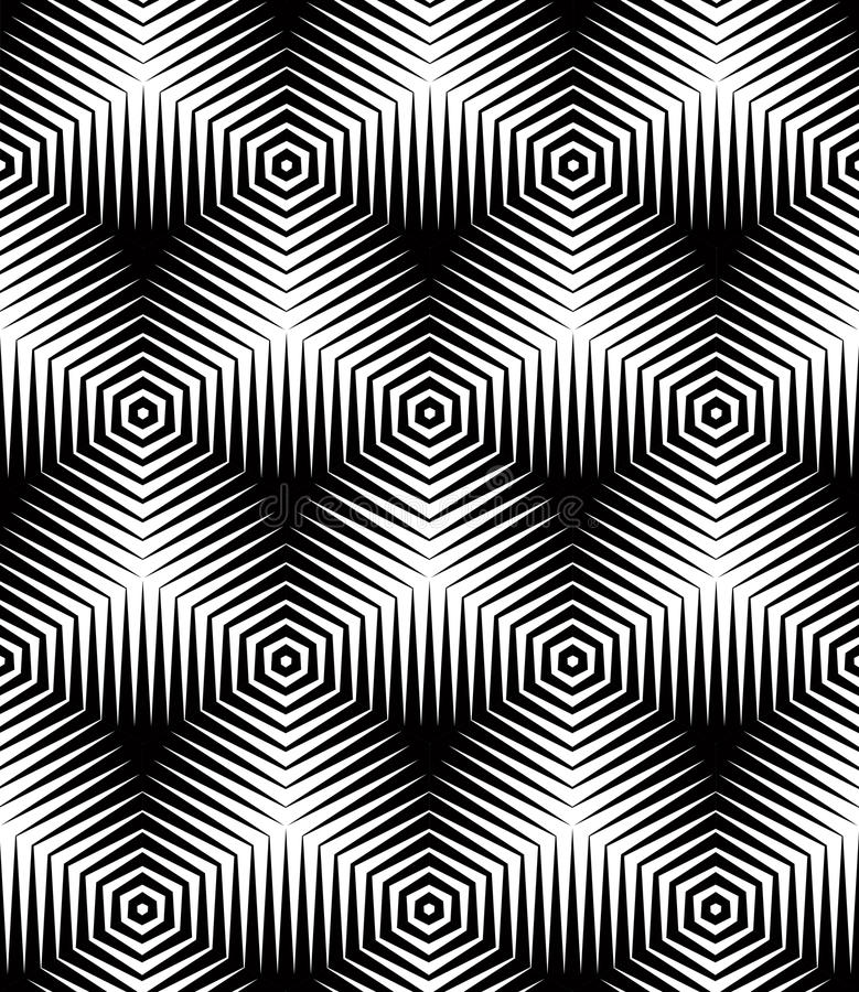 Modèle ornemental optique sans couture, géométrique tridimensionnel illustration libre de droits
