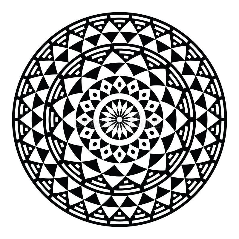 Modèle ou copie géométrique aztèque tribal en cercle illustration stock