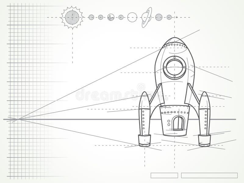 Modèle - plan et planètes de vaisseau spatial illustration stock