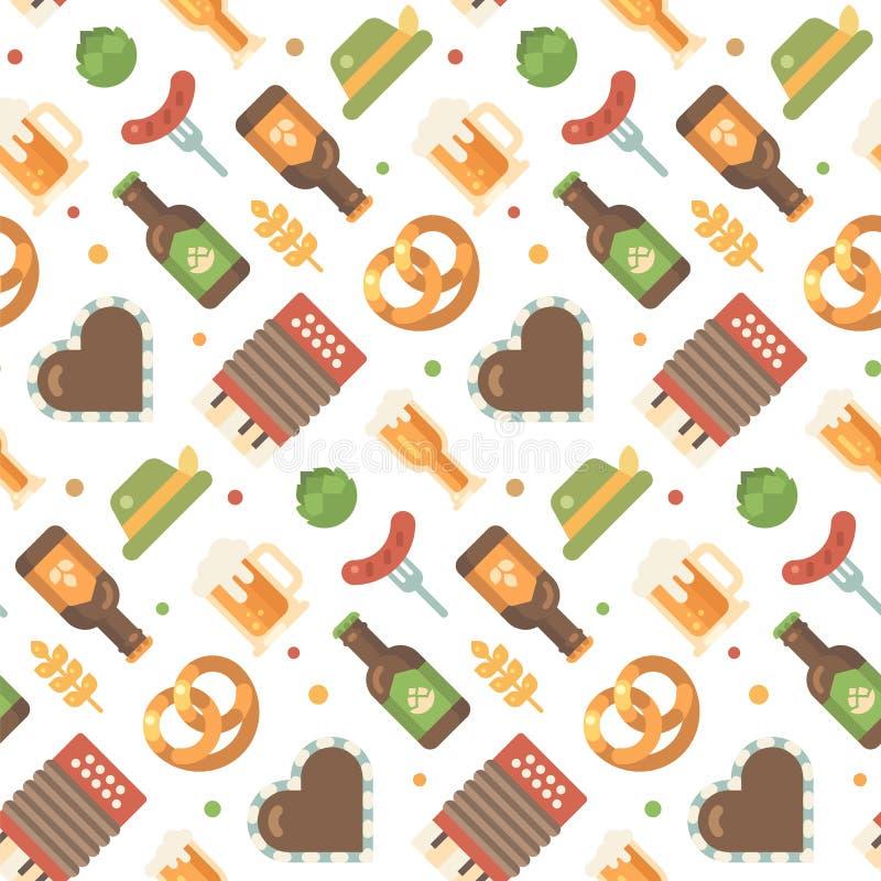 Modèle plat d'icônes d'Oktoberfest illustration de vecteur