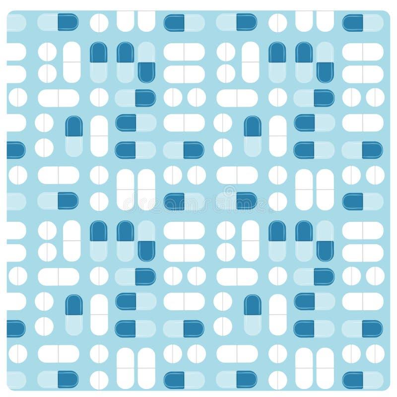 Modèle plat de vecteur sans couture de traitement de pilule de médecine illustration libre de droits