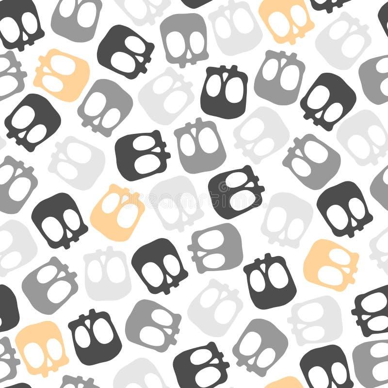 Modèle plat simple de répétition sans couture de bande dessinée de vecteur avec les crânes colorés mignons illustration de vecteur
