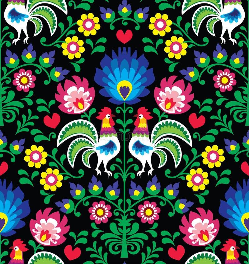 Modèle polonais sans couture d'art populaire avec des coqs illustration libre de droits