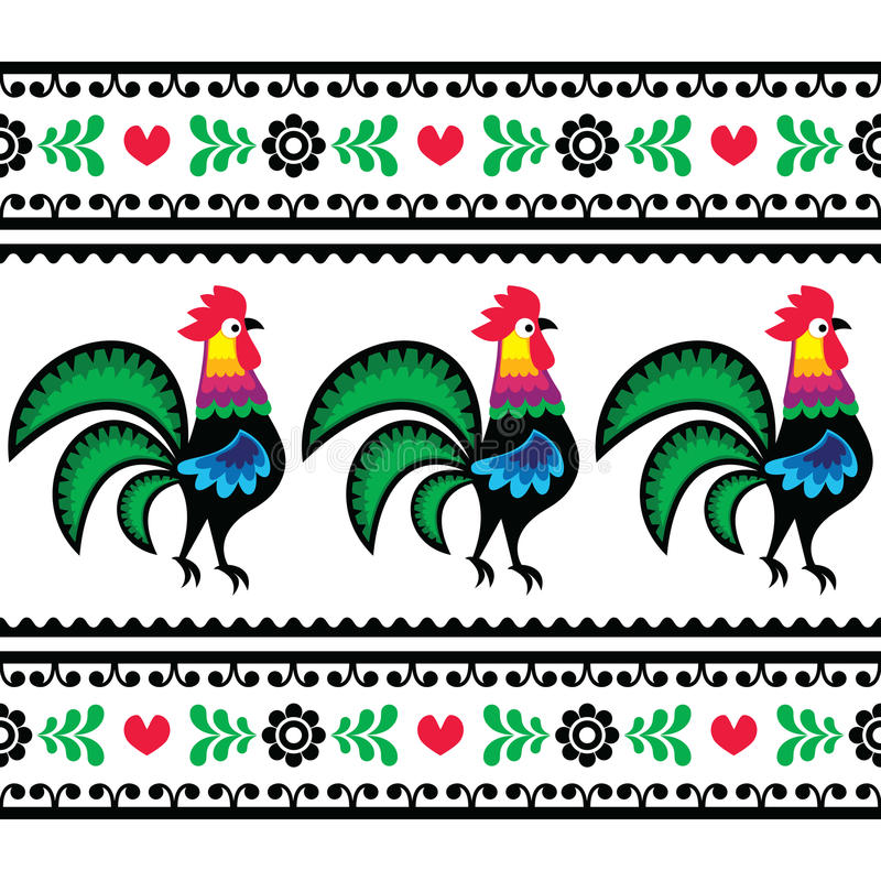 Modèle polonais sans couture d'art populaire avec des coqs - Wzory Lowickie, Wycinanka illustration libre de droits