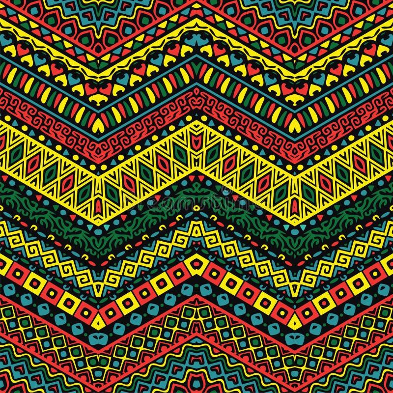 Modèle polychrome avec les ornements ethniques illustration de vecteur