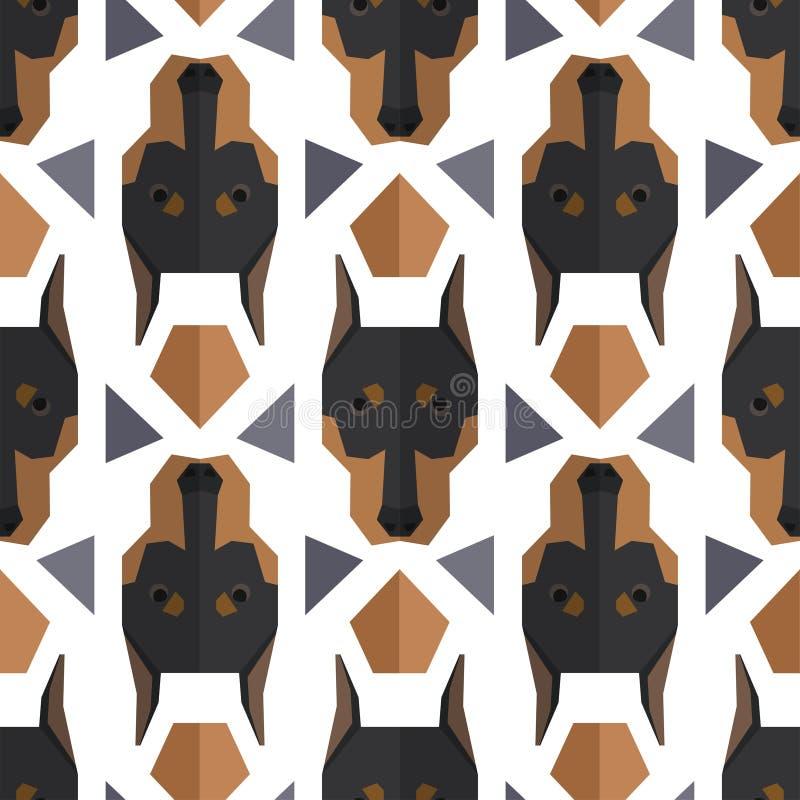 Modèle polygonal sans couture avec la tête de dobermann illustration libre de droits