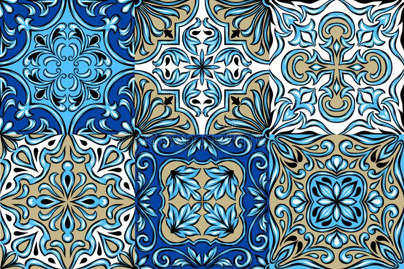 Modèle portugais de carreau de céramique d'azulejo illustration stock