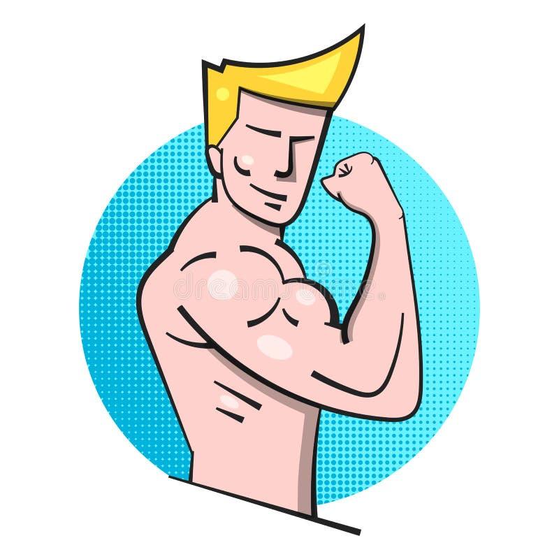 Modèle Posing Logo de forme physique de Bodybuilder Homme de muscle illustration stock