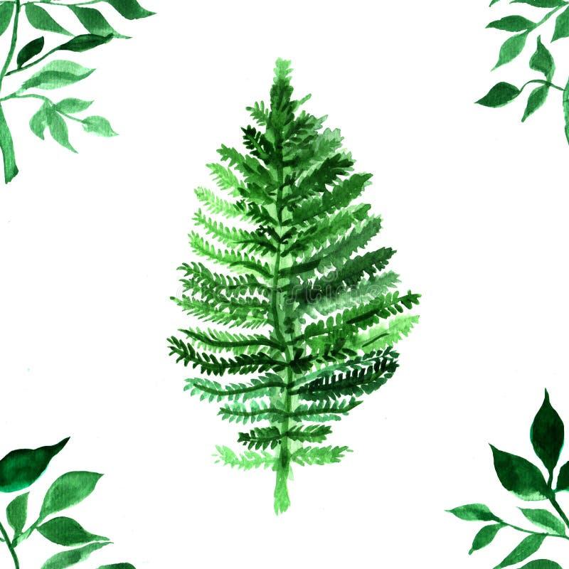 Modèle pour aquarelle avec les feuilles vertes Copie colorée avec l'élément peint à la main abrégez le fond illustration de vecteur