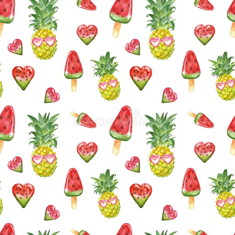 Modèle pour aquarelle mignon d'été avec les fruits frais d'ananas, lunettes de soleil, posicles de pastèque sur le fond blanc illustration de vecteur