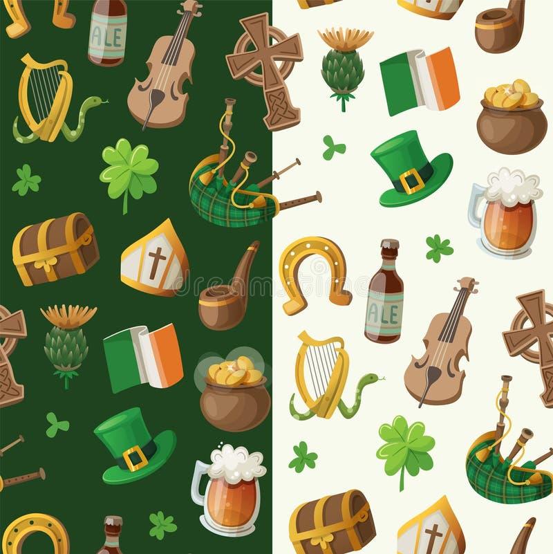 Modèle pour le jour de St Patrick avec l'iri traditionnel illustration stock