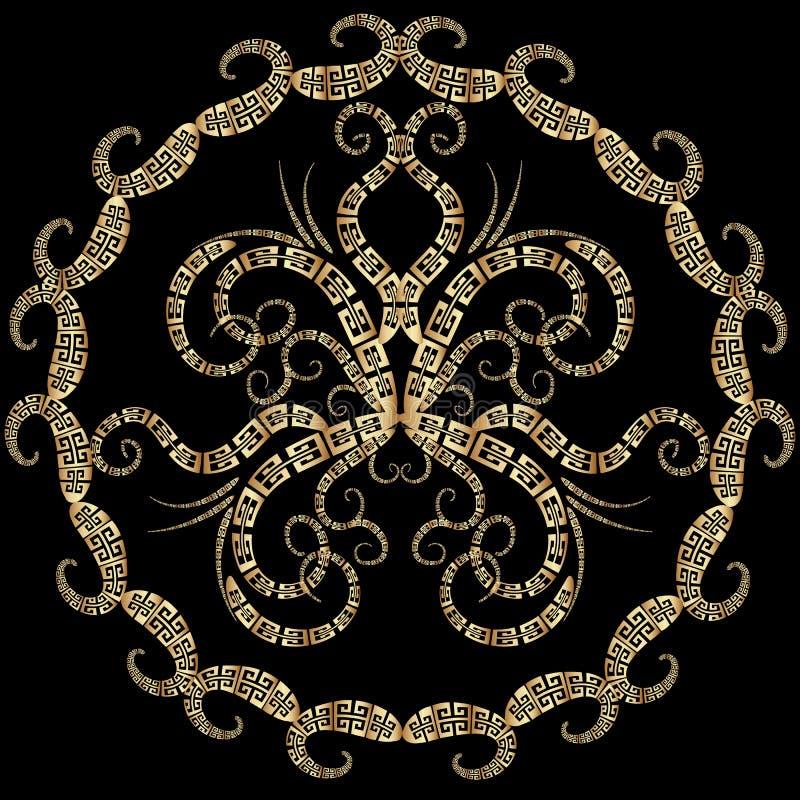 Modèle principal grec abstrait de mandala de papillon de méandre Vecteur Orn illustration de vecteur