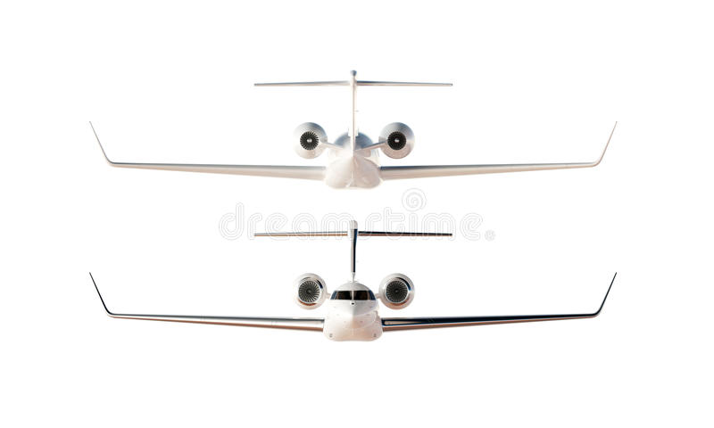 Modèle privé d'avion de conception générique de luxe brillante de photo Fond blanc vide d'isolement par maquette claire Course d' photo libre de droits