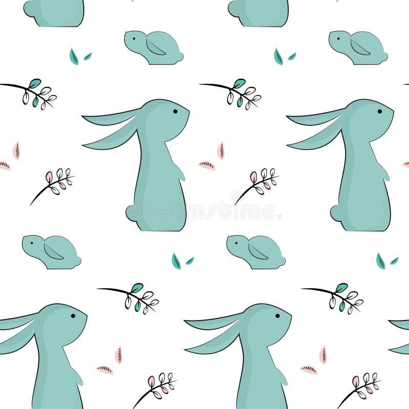 Modèle puéril avec les lapins mignons illustration libre de droits