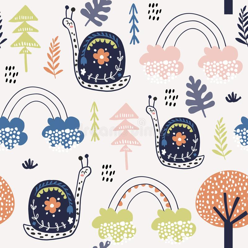 Modèle puéril sans couture avec des escargots, et arcs-en-ciel Texture créative de ville d'enfants pour le tissu, s'enveloppant,  illustration de vecteur