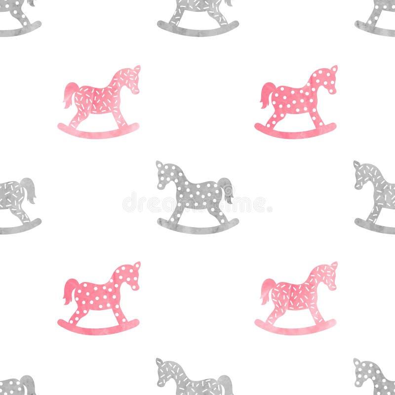 Modèle puéril sans couture avec le cheval de basculage d'aquarelle illustration libre de droits