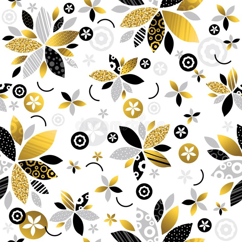 Modèle qu'on peut répéter avec les fleurs décoratives éclatantes d'or et noires Configuration florale sans joint Fond qu'on peut  illustration de vecteur