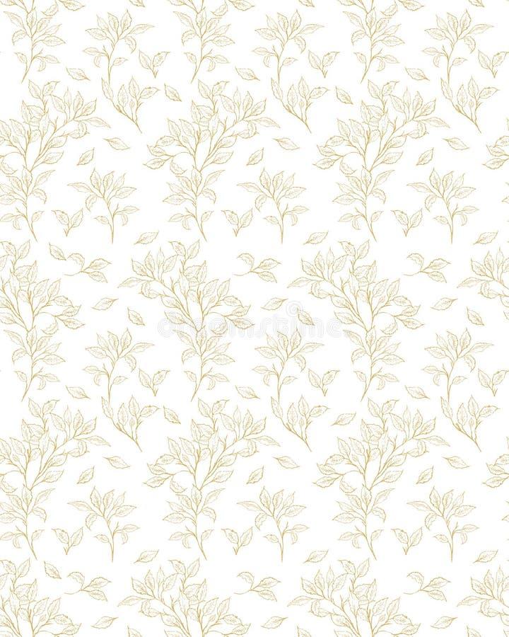Modèle qu'on peut répéter floral sensible de vecteur Brindilles d'or sur un blanc illustration libre de droits