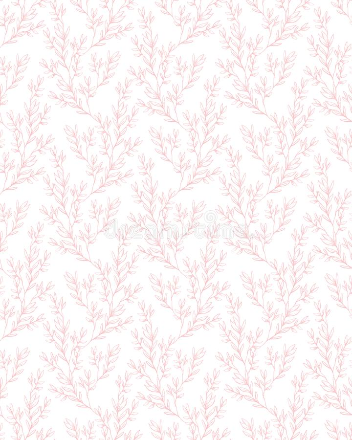 Modèle qu'on peut répéter floral sensible de vecteur Brindilles et feuilles roses illustration stock