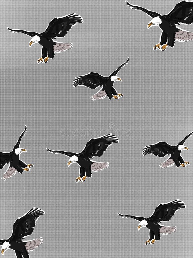 Modèle réaliste d'illustration de portrait d'Eagle dessinant le fond blanc noir illustration stock