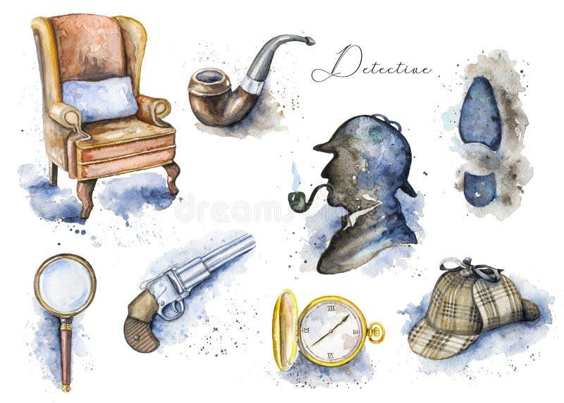 Modèle réglé d'aquarelle avec des objets de Sherlock Holmes illustration de vecteur
