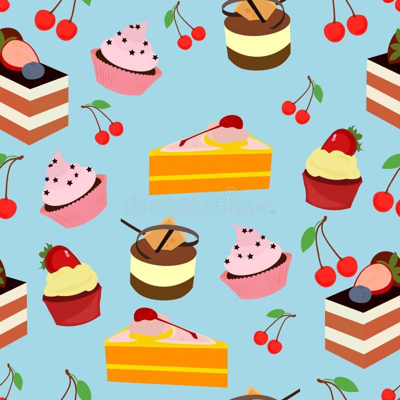 Modèle réglé de dessert doux de gâteau images stock