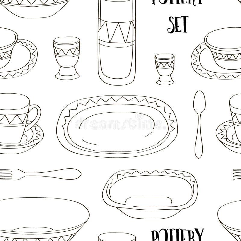 Modèle réglé de poterie illustration stock