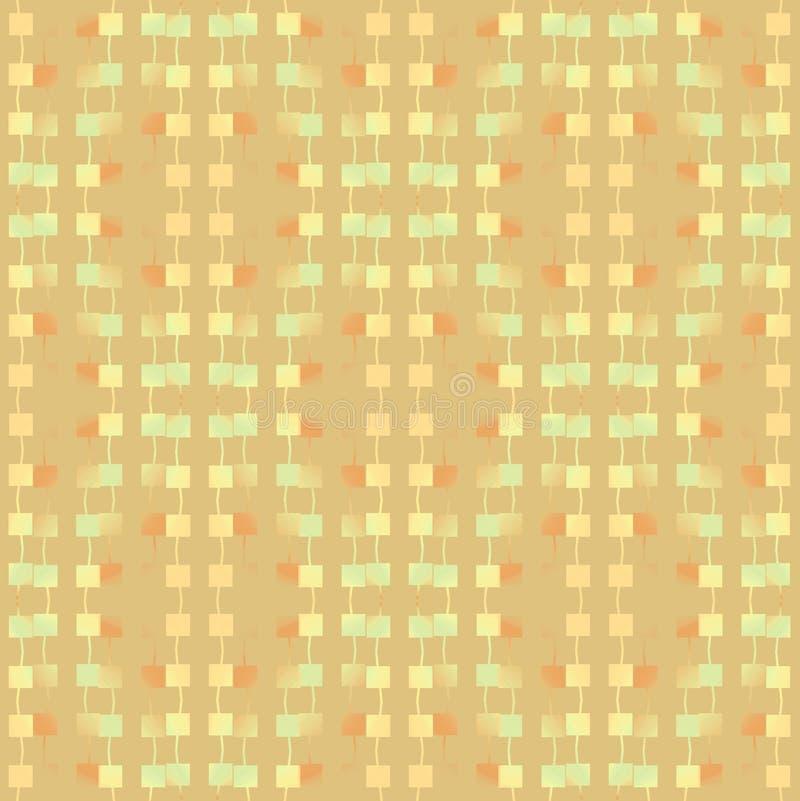 Modèle régulier de places avec les lignes ondulées vert en pastel brun clair ocre beige brouillé verticalement illustration de vecteur