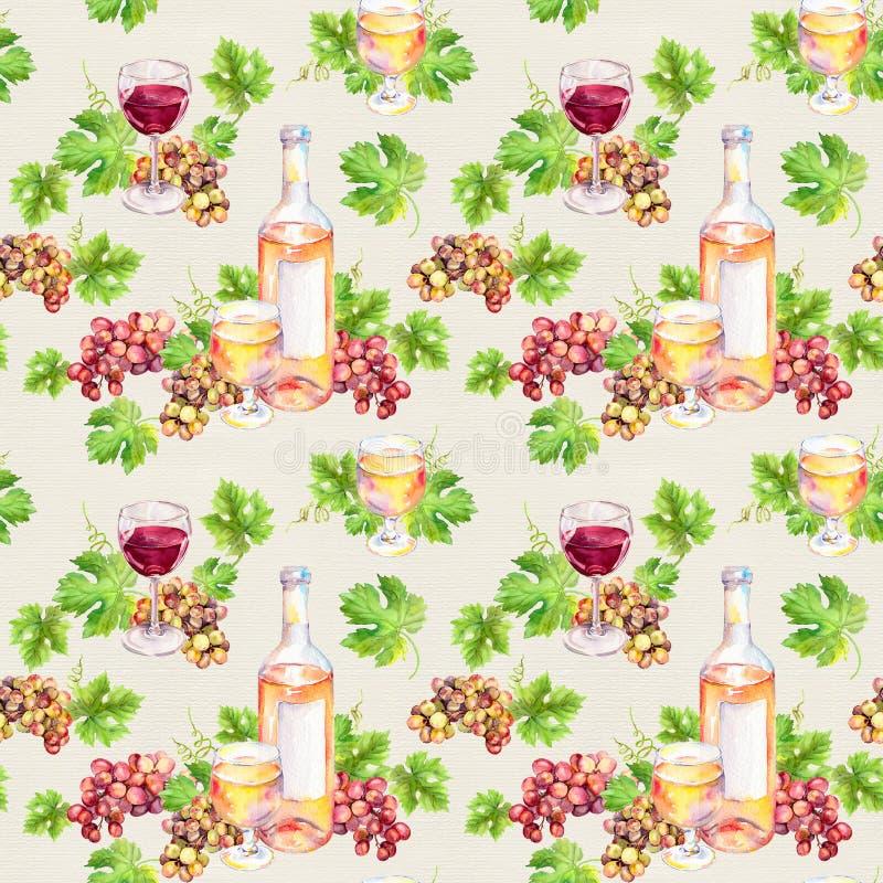 Modèle répété Le verre de vin, bouteille, vigne part, des baies de raisin watercolor illustration stock
