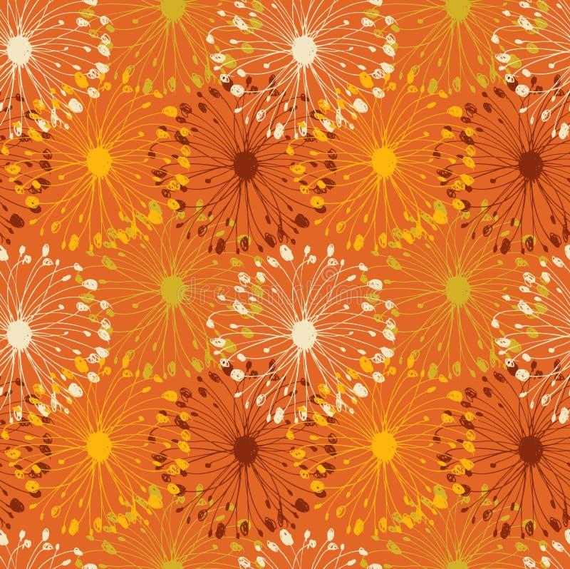 Modèle radial grunge orange. Fond sans couture floral décoratif pour des métiers, textile, papiers peints illustration de vecteur