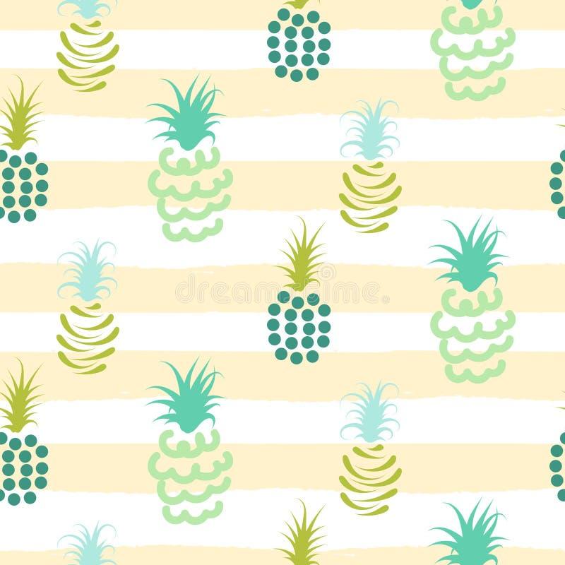Modèle rayé abstrait de couleurs en pastel d'ananas illustration stock