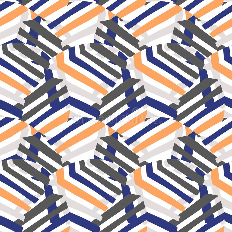 Modèle rayé audacieux de vecteur avec le motif géométrique illustration libre de droits