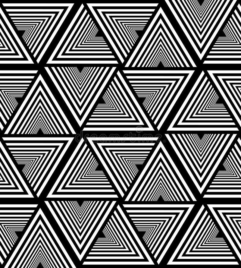 Modèle rayé blanc et noir sans couture de triangle Fond abstrait géométrique polygonal Approprié au textile, tissu illustration libre de droits