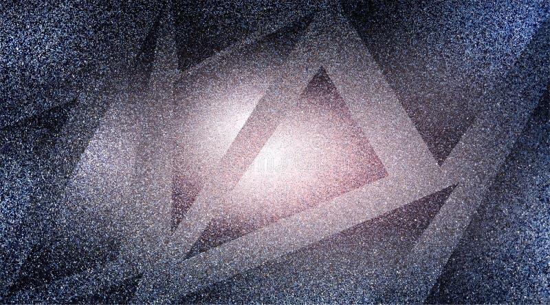 Modèle rayé et blocs ombragés par fond gris abstrait dans les lignes diagonales avec la texture grise de cru illustration stock