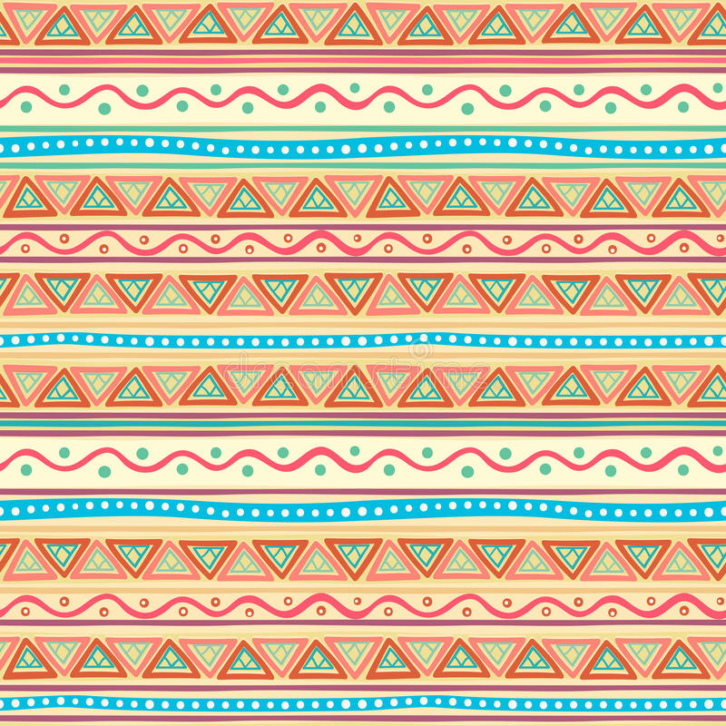 Modèle rayé multicolore tribal illustration de vecteur