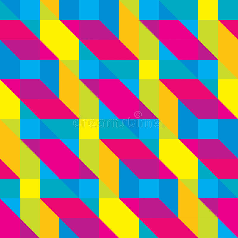 Modèle recouvert sans couture de formes polygonales de Cmyk photo stock