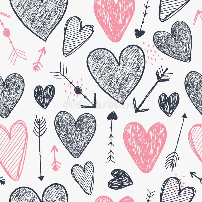 Modèle romantique sans couture de vecteur Les coeurs et les flèches aiment le fond, gribouillent le style tiré par la main Utilis illustration stock
