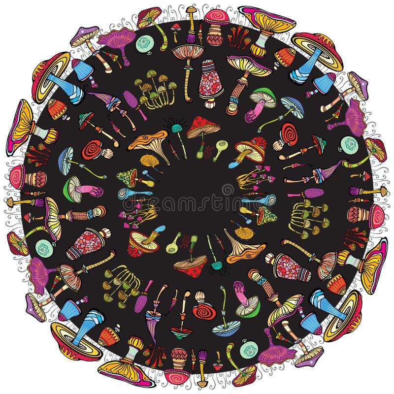 Modèle rond avec des champignons illustration stock