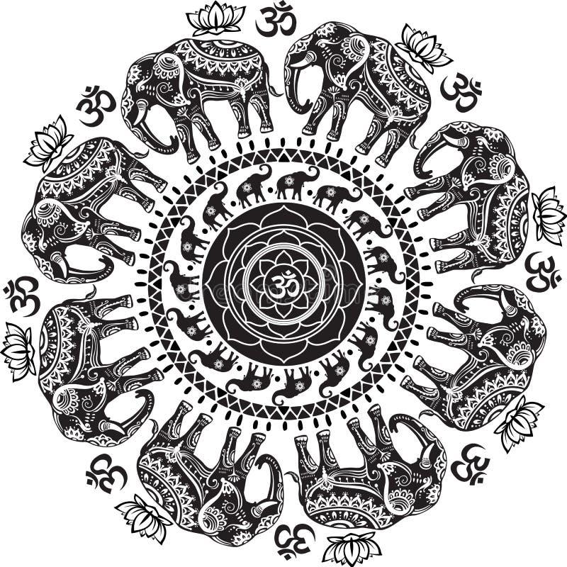 Modèle rond avec les éléphants décorés illustration de vecteur